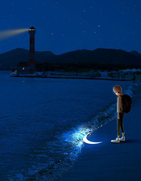 心有情绪的意境皮肤_对着月亮,心有所思念点滴