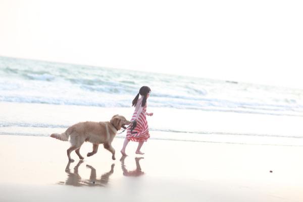 牵着狗狗的女生头像