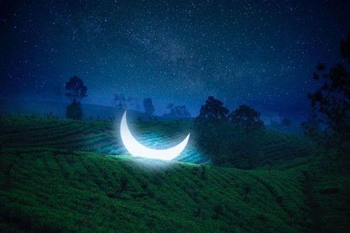 黑夜的月亮发光QQ意境皮肤图片图片